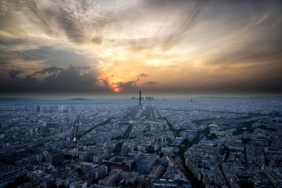aerial paris sunset city skyline sky clouds beautiful wallpaper travel tourism view scenic buildings infrastructure busy business cityscape