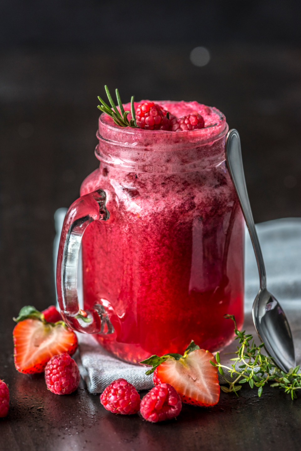berry beverage closeup cold cool drink drinking food food photography frappe fresh freshness fruit glass healthcare healthy herbs juice macro menu mixed berry natural nutrients nutritious organic recipe red refreshing refreshment rosemarry