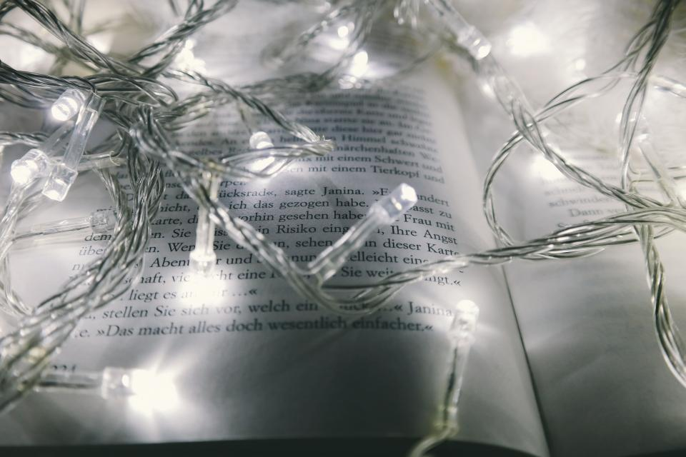 book read letter text christmas lights blur bokeh electricity