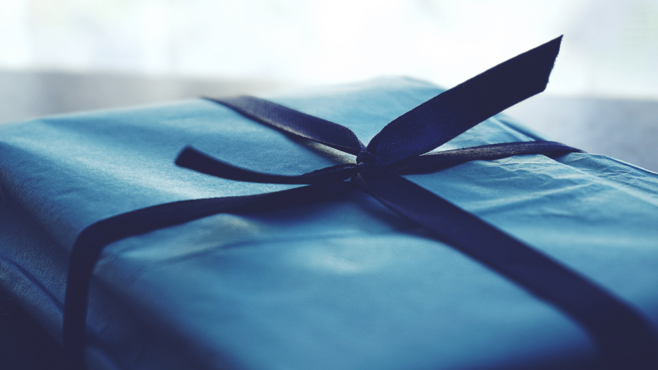 gift present wrapping blue ribbon gift wrap