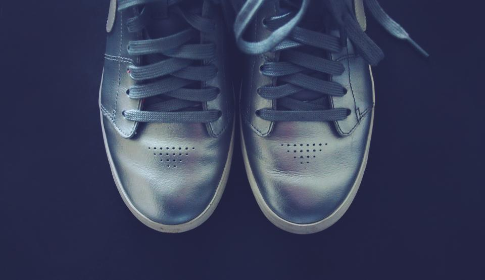 silver shoes sneakers laces fashion