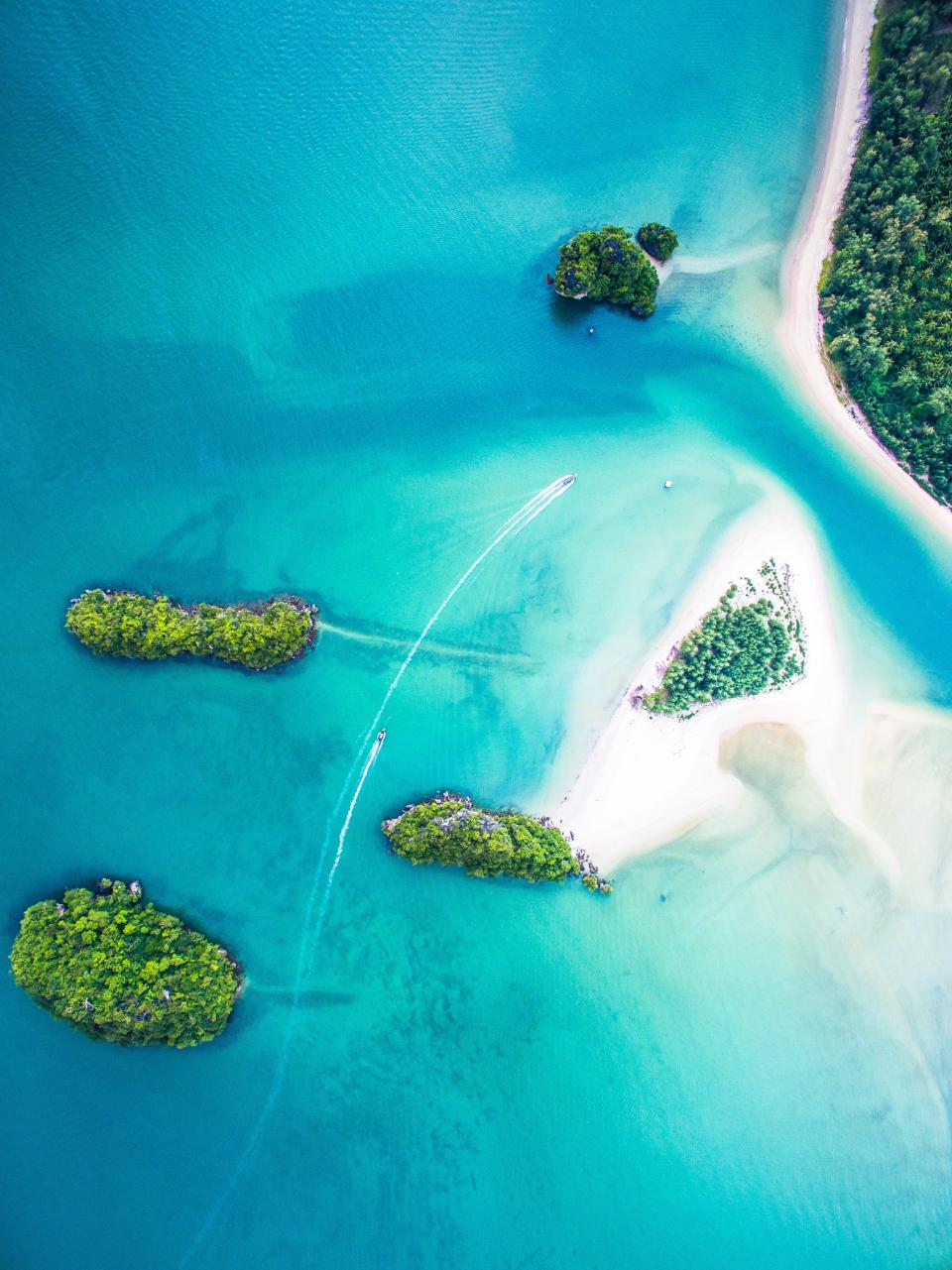 sea ocean blue water nature aerial view tree plant island