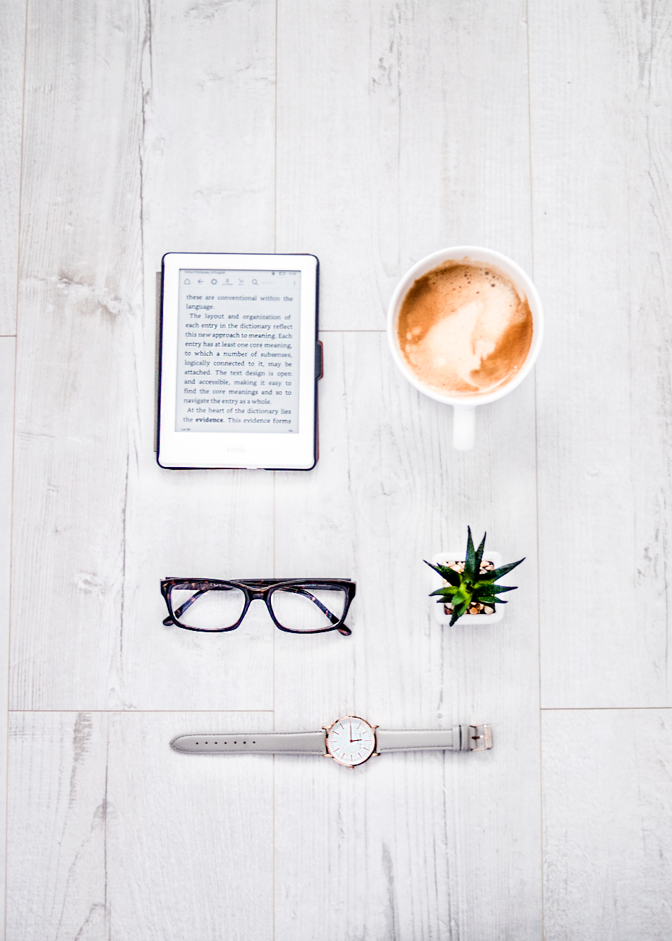 reader coffee glasses plant watch technology ebook kindle cappuccino espresso wood background house plant green nature time