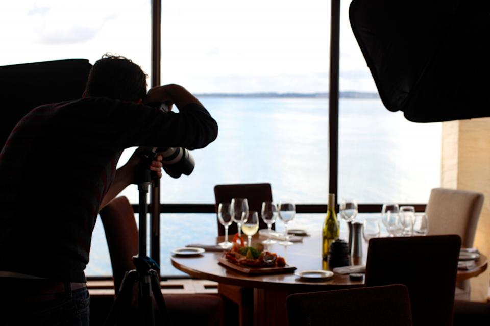food photography photographer camera table chairs dinner wine glasses plates