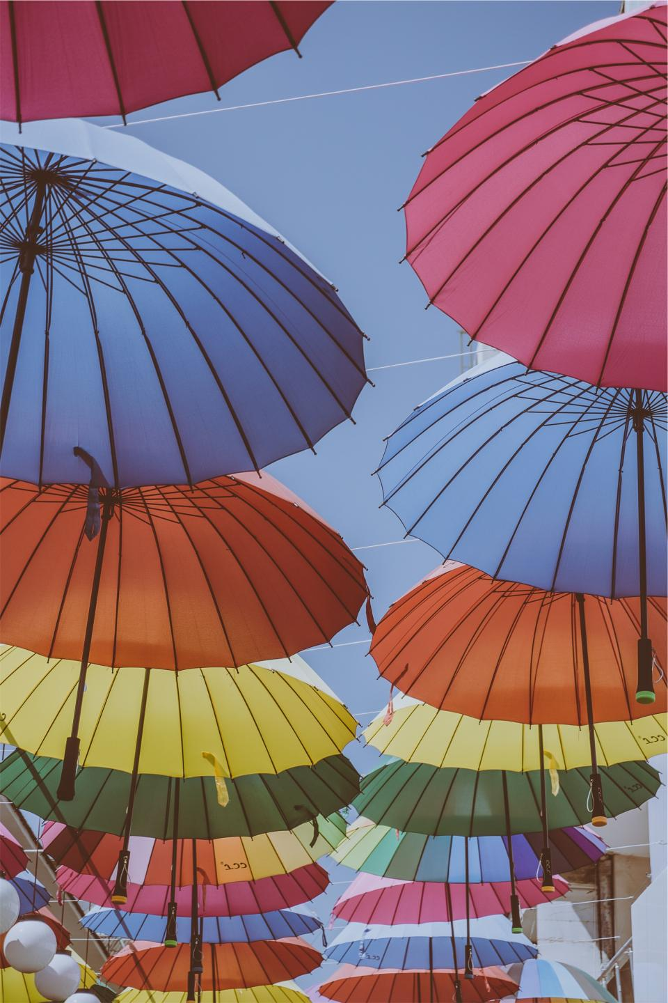 umbrellas colors colours rainbow sunny