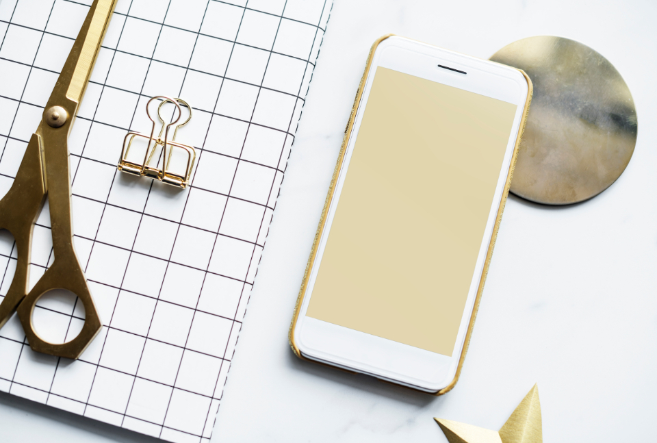 cellphone creative decoration editorial feminine flat lay flatlay girly gold journal marble modern notebook notepad phone scissors screen smartphone table texture tool work work from home workspace ac