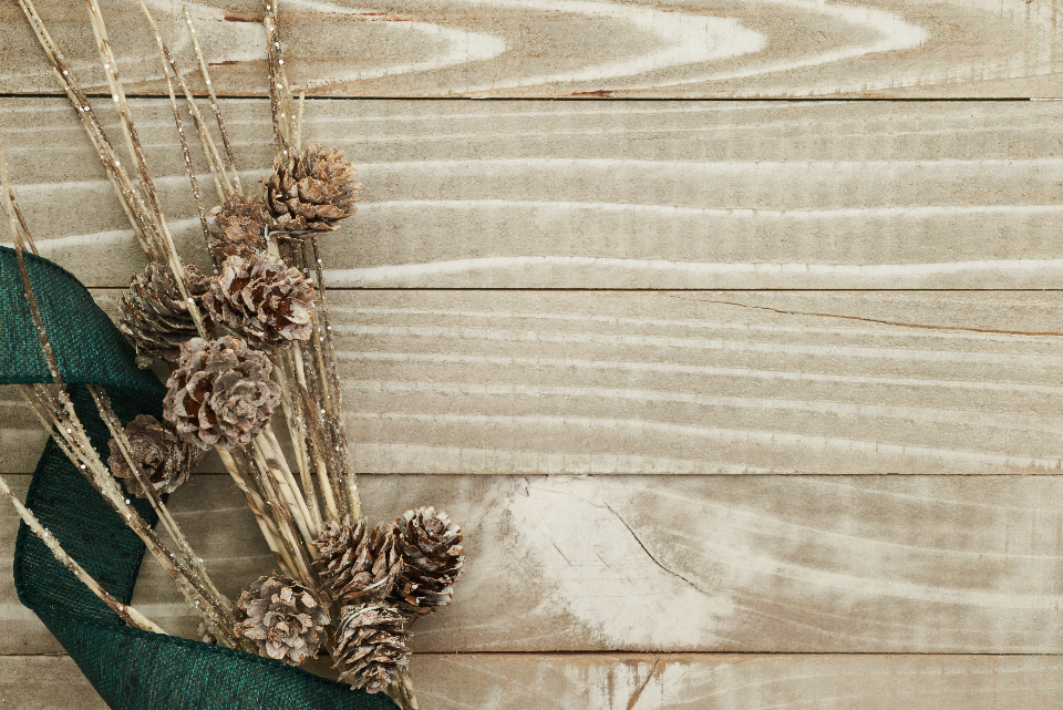 holiday wood background rustic seasonal christmas xmas planks copyspace flat lay texture natural pine cones ribbon
