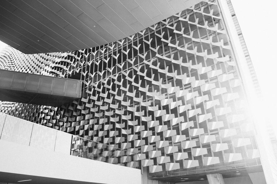 building wall architecture pattern black and white