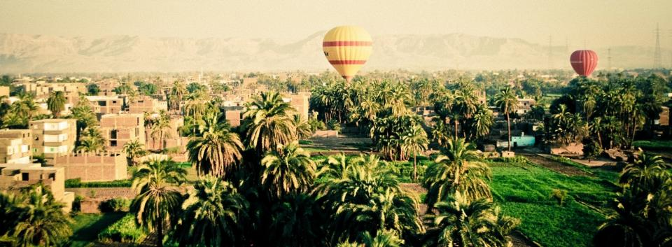 sky mountains hot air balloons green trass palm trees houses buildings panoramic