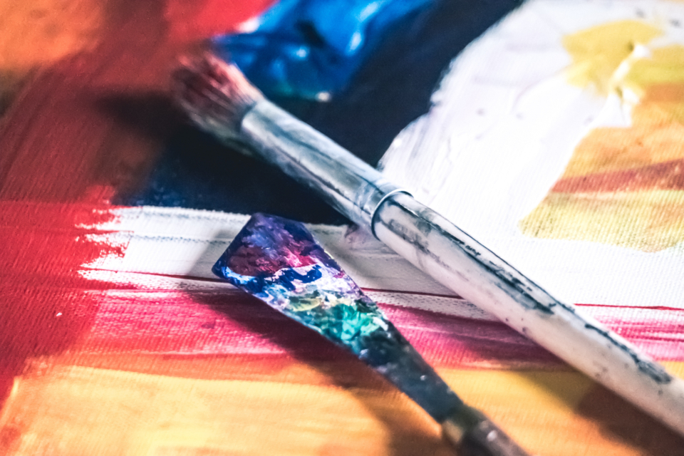 acrylic paint art design artist painter brush spatula scrapper red blue yellow creative abstract