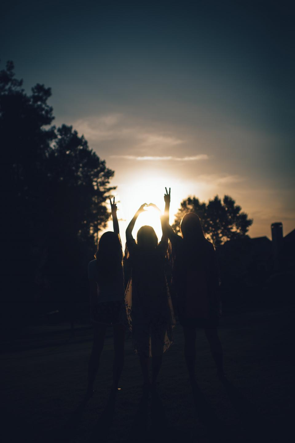 woman girl lady people back friends sunset sunrise dusk dawn hands sign silhouette sun trees sky clouds