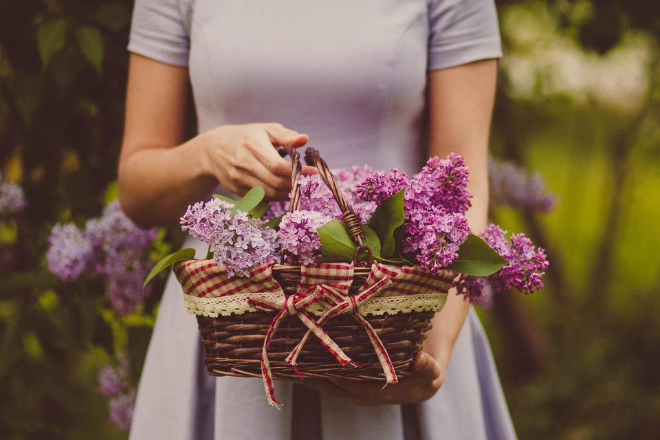 woman people dress basket woven flowers nature outdoors fashion beauty