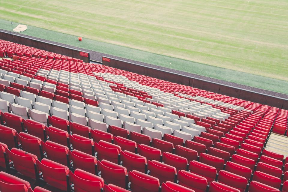 red white seats chairs stadium sports concert field outdoor fitness