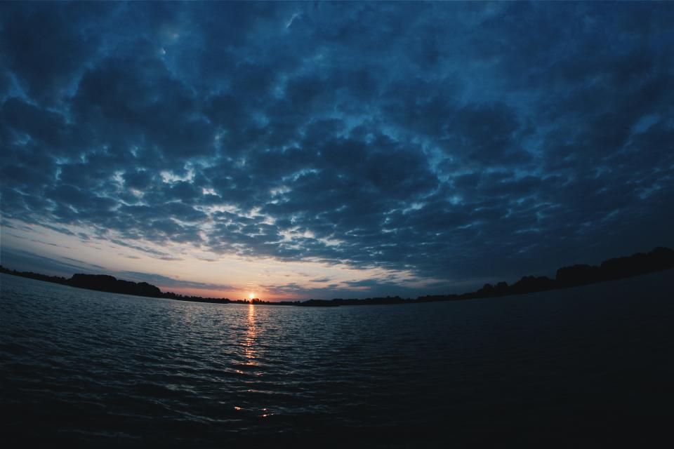 sunset dusk sky clouds cloudy dark night evening sky lake water landscape