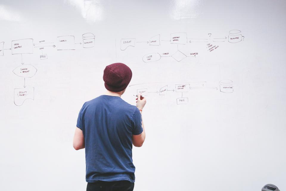 flowchart whiteboard office business planning guy man people working startup meeting