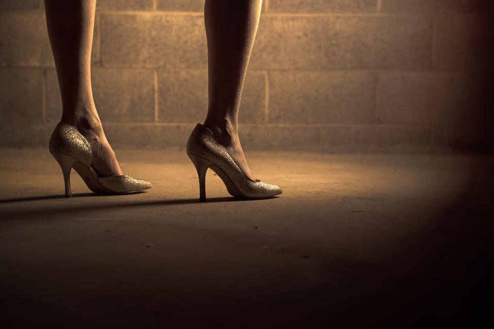 high heels shoes woman girl legs feet floor concrete