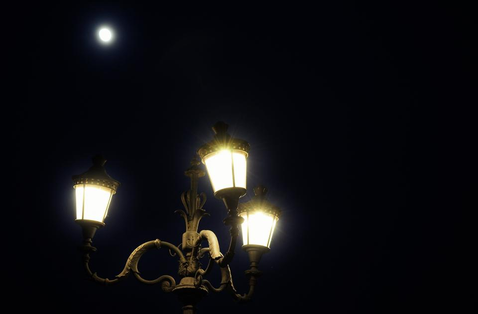street lights moon dark night sky