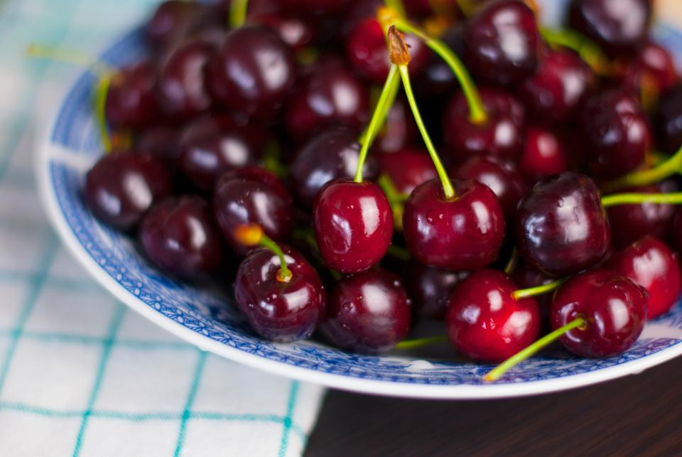 cherries fruits food healthy bowl snack