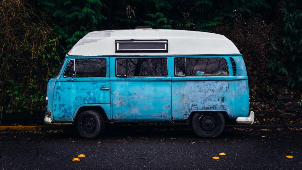 blue hippy van automotive vintage oldschool