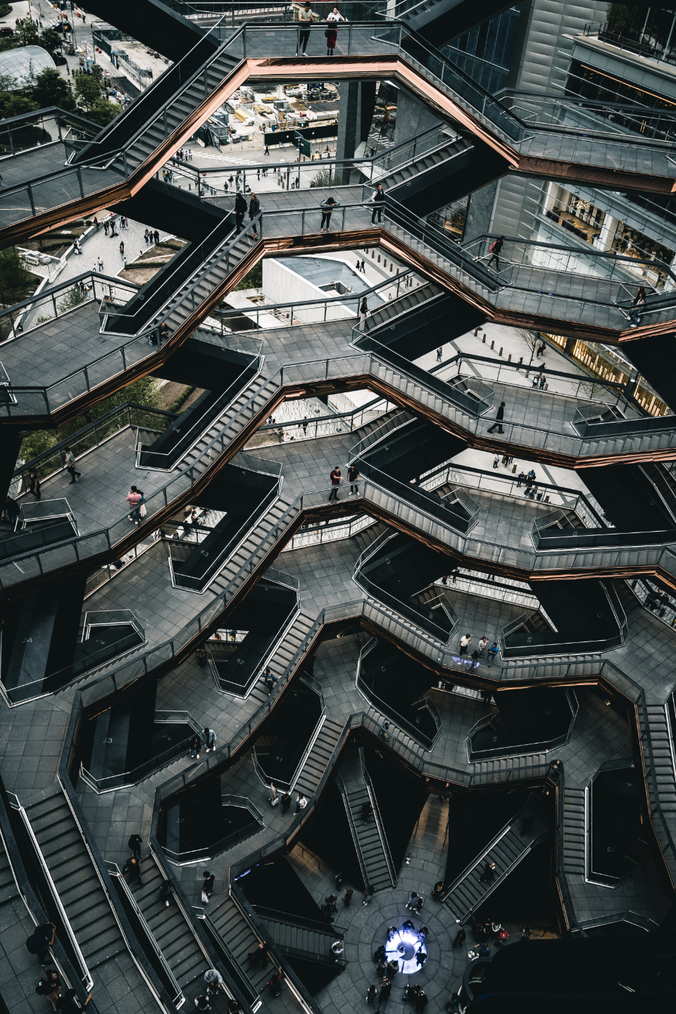 stairs interior abstract building city tall steps modern design architecture symmetry people view stairway