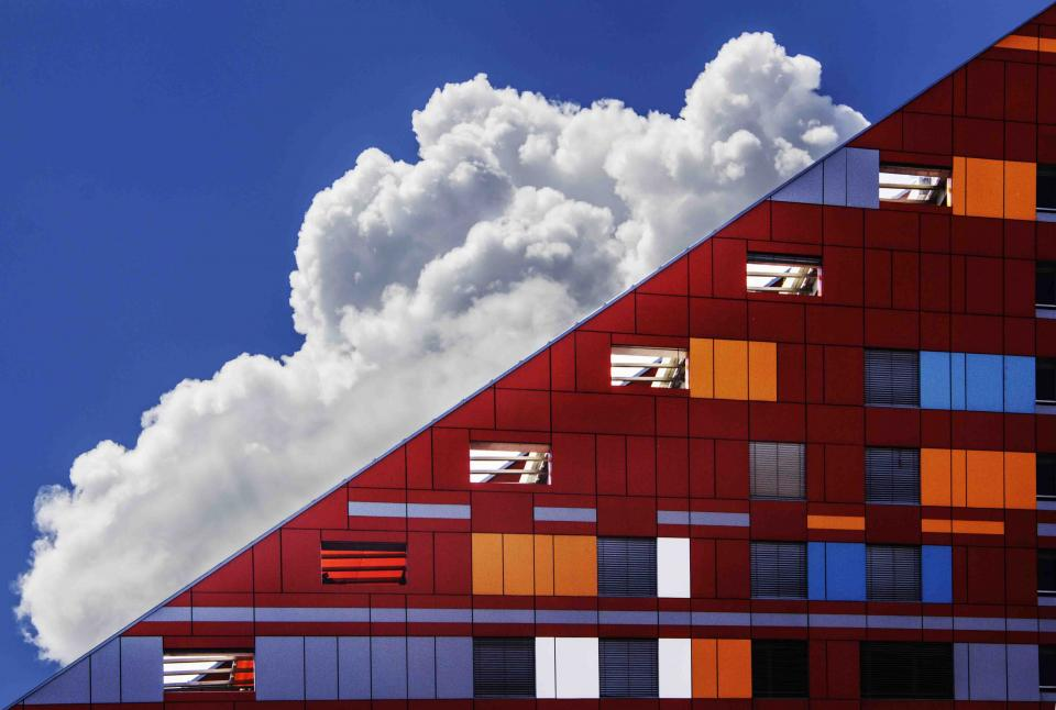 architecture building modern art structure lines linear shapes patterns perspective colors blocks sky clouds
