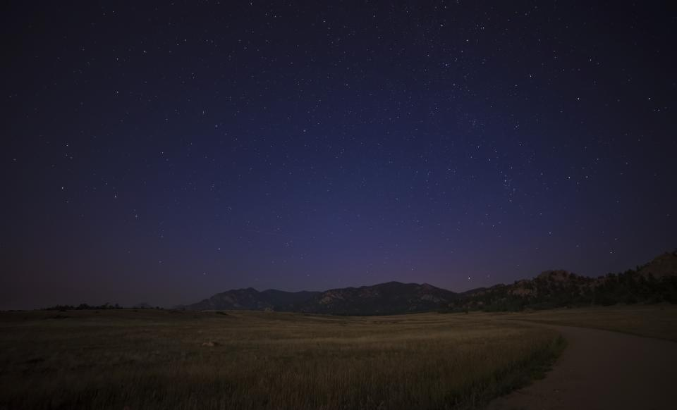 night sky stars galaxy evening field landscape nature mountains rural countryside