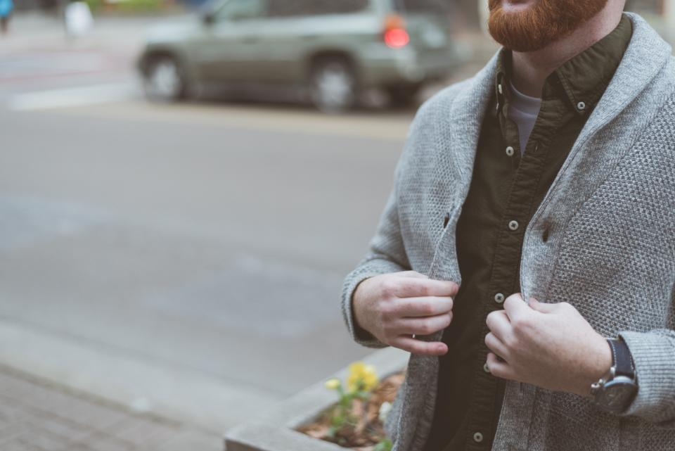 jacket grey man guy road watch beard bokeh car flower hands street people buttons suit blazer fashion