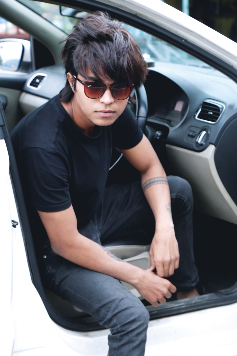 car summer handsome fun young guy boy man people sunglasses fashion long hair automotive model