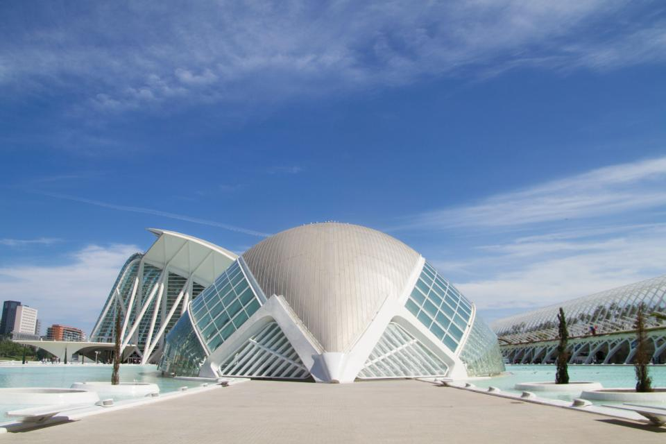 architecture building infrastructure blue sky clouds dome landmark city urban valencia spain