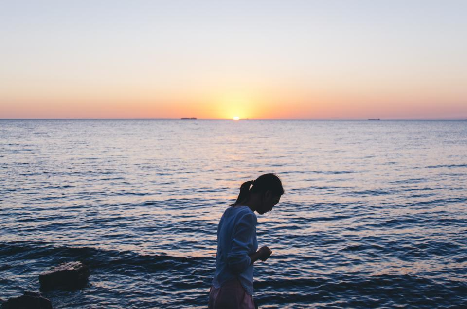 nature landscape water ocean sea beach people woman travel adventure sunset