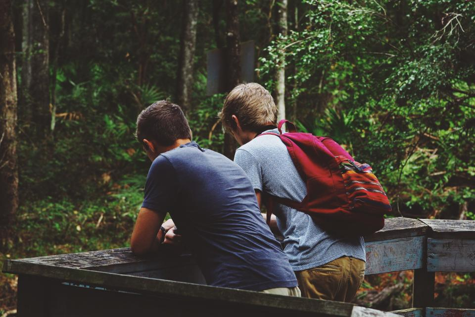 people men buddies travel adventure trees woods forest trip friends