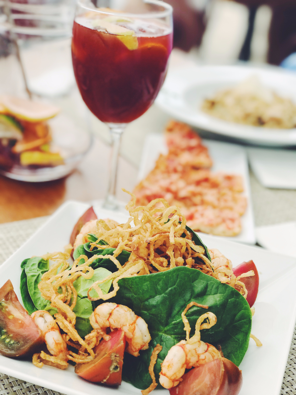 food sangria wine summer seafood fried crunchy salad leaves spinach restaurant beverage drink plate table
