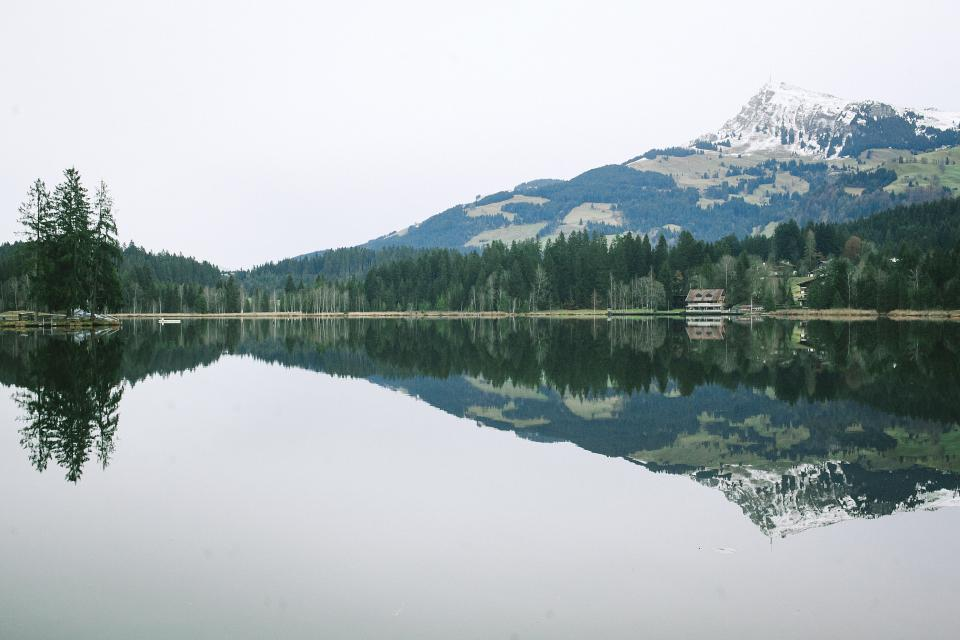 nature water still reflection mountains trees landscape