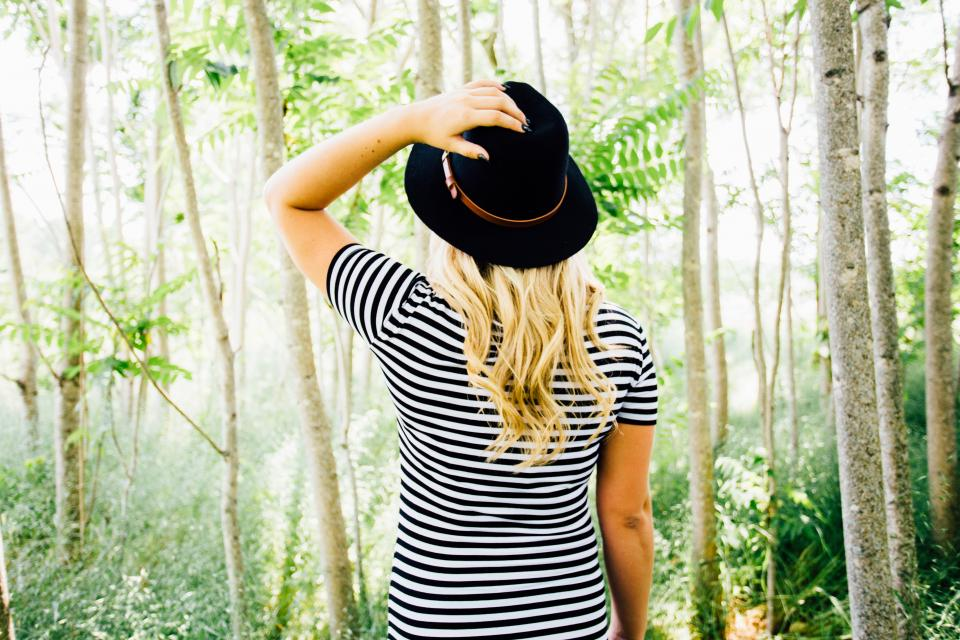 girl woman model fashion fedora hat stripes forest woods trees nature blonde long hair