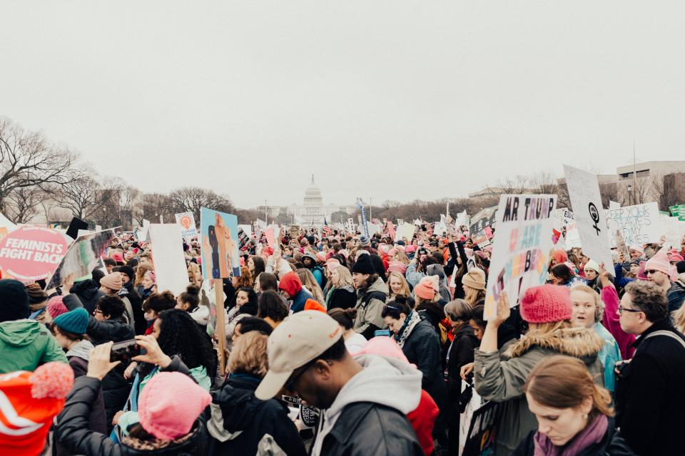 people man woman protest rally equality trump feminist empowerment unite immigrants