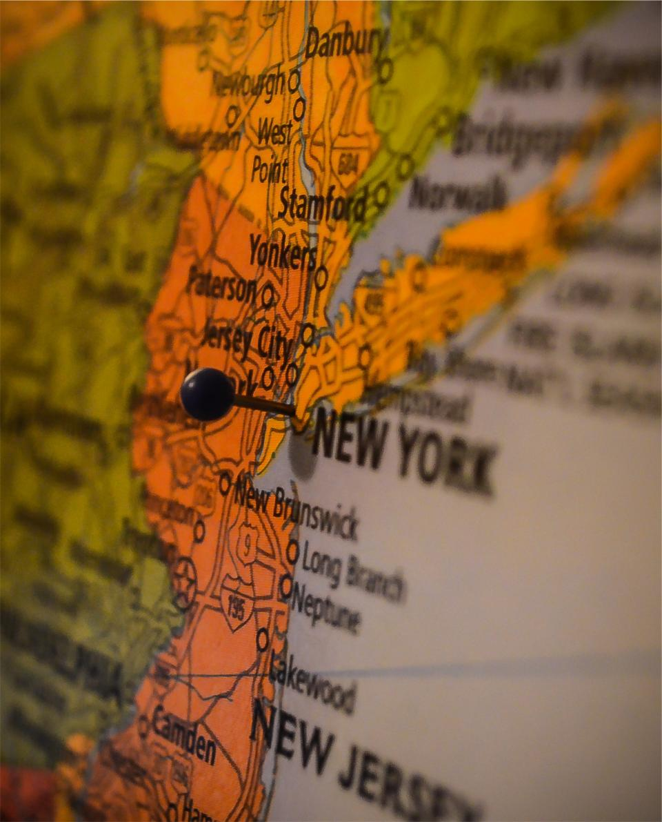 map New York New Jersey pin USA United States