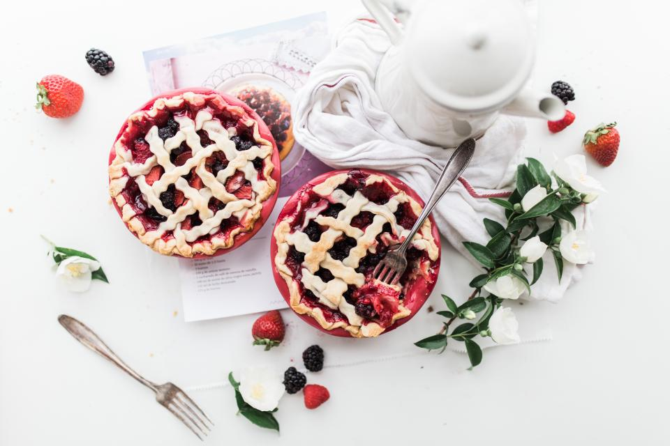 food eat gourmet strawberry pies fruits flowers table spread teapot forks raspberry delicious flatlay white