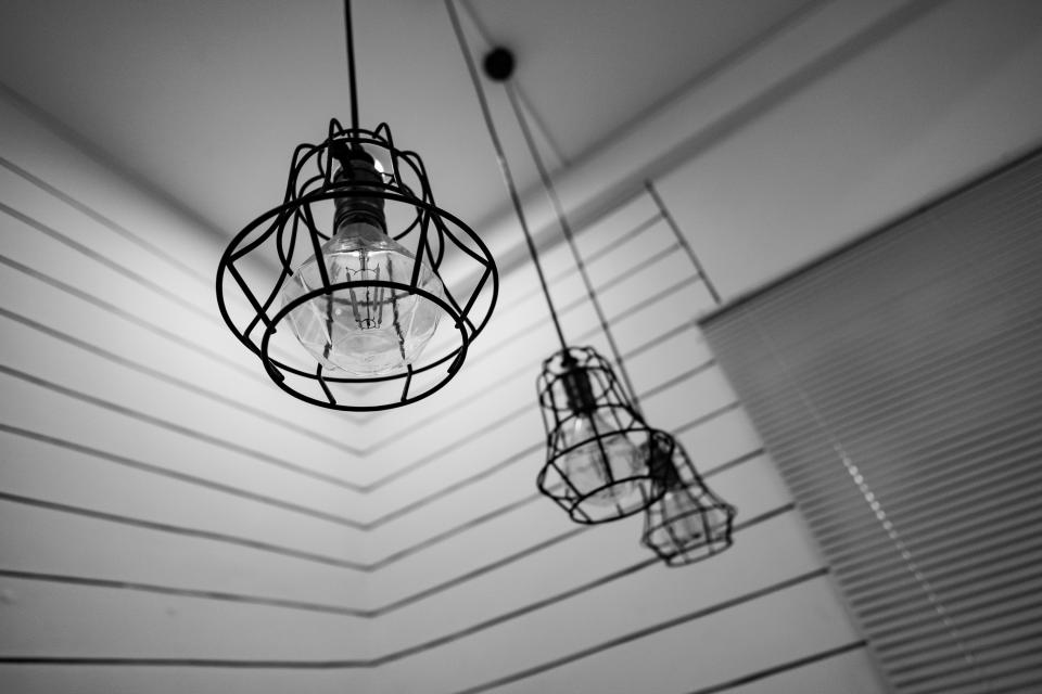 black and white light lamp interior design hanging