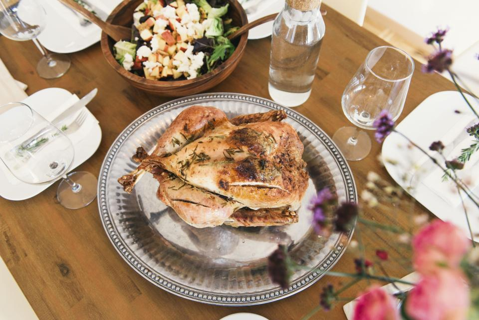 food chicken table lunch plate glass utensils delicious