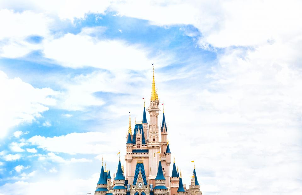 walt disney disneyland disney world castle Cinderella peaks sky clouds imagination amusement park