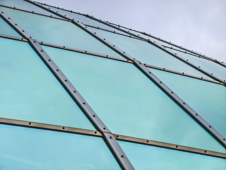 abstract building exterior roof dome futuristic curve modern perspective metal steel sky architecture glass pattern