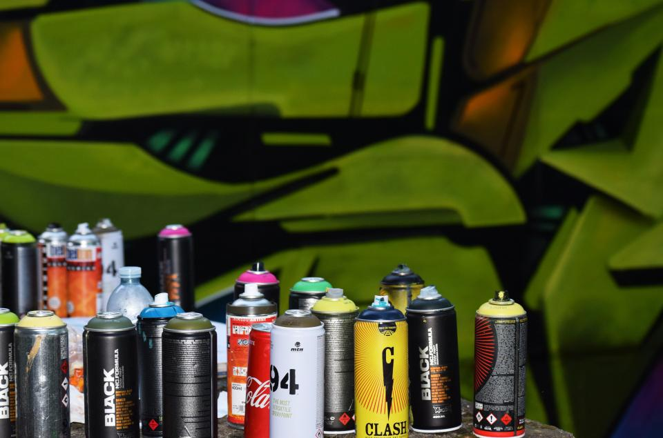 colorful can bottle spray paint