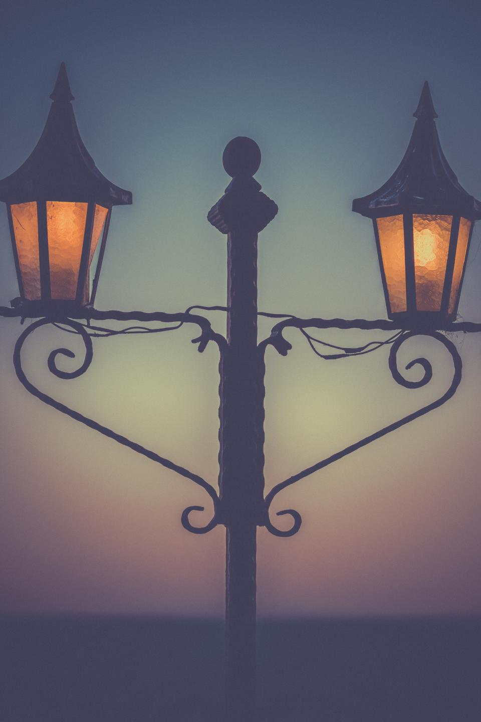 street lights lamp posts night dark evening silhouette shadow