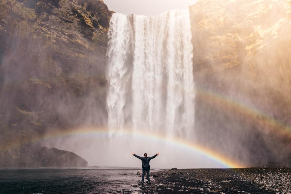 people man happy enjoy freedom nature travel adventure rainbow water falls