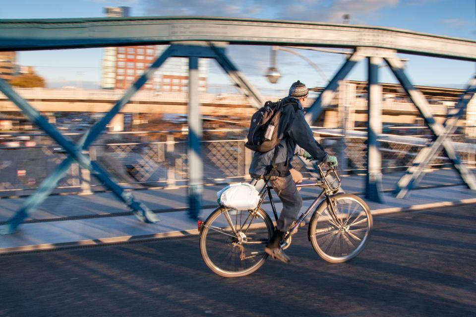 bicycle bike urban city infrastructure bridge building establishment