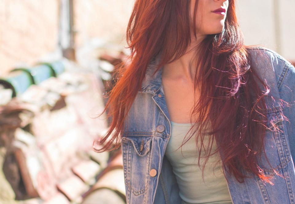 people woman lady girl redhead denim