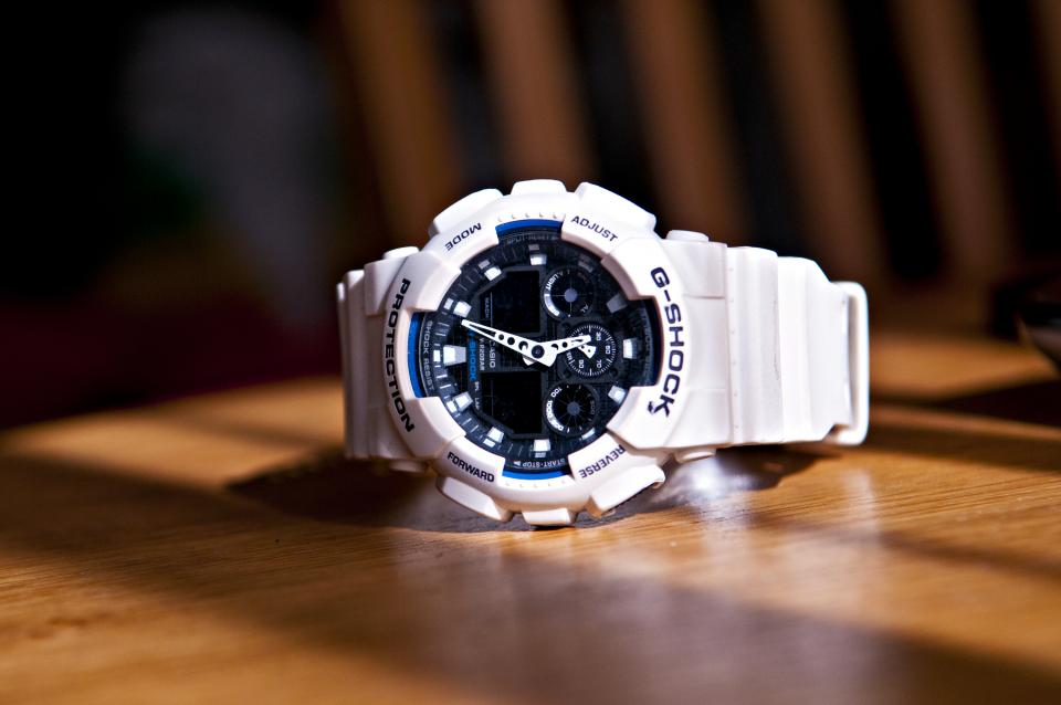 g-shock watch white objects clock time