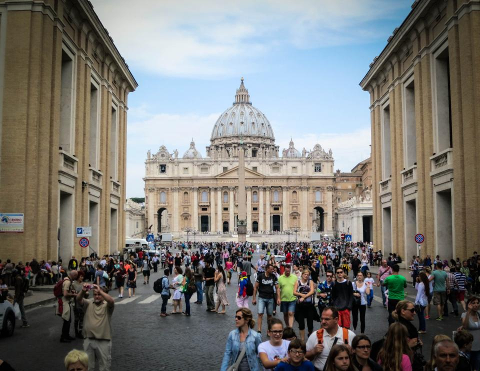 Vatican City Rome Italy buildings architecture people pedestrians crowd catholics church religion group