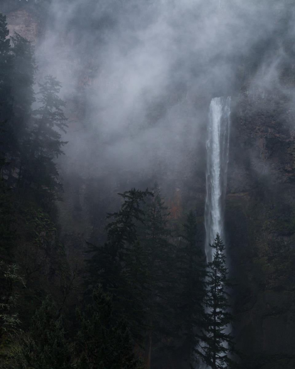 nature water waterfalls altitude forests trees mountains rocks fog