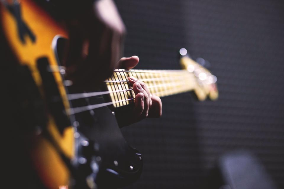 electric guitar strings musical instrument blur musician hand